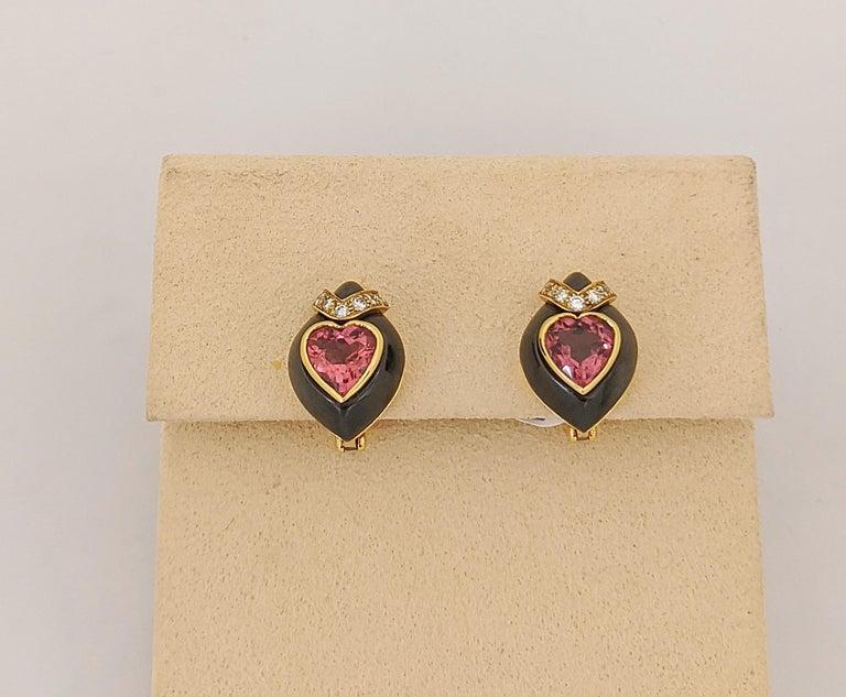 Modern David Morris 18Kt Yellow/Blackened Gold Diamond & Pink Tourmaline Heart Earrings For Sale