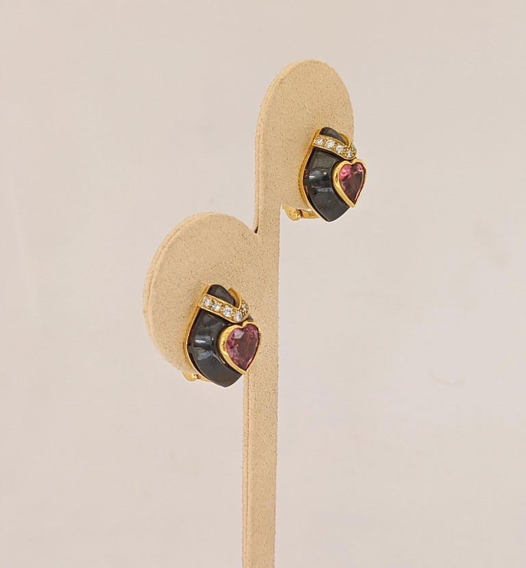 David Morris 18Kt Yellow/Blackened Gold Diamond & Pink Tourmaline Heart Earrings In New Condition For Sale In New York, NY
