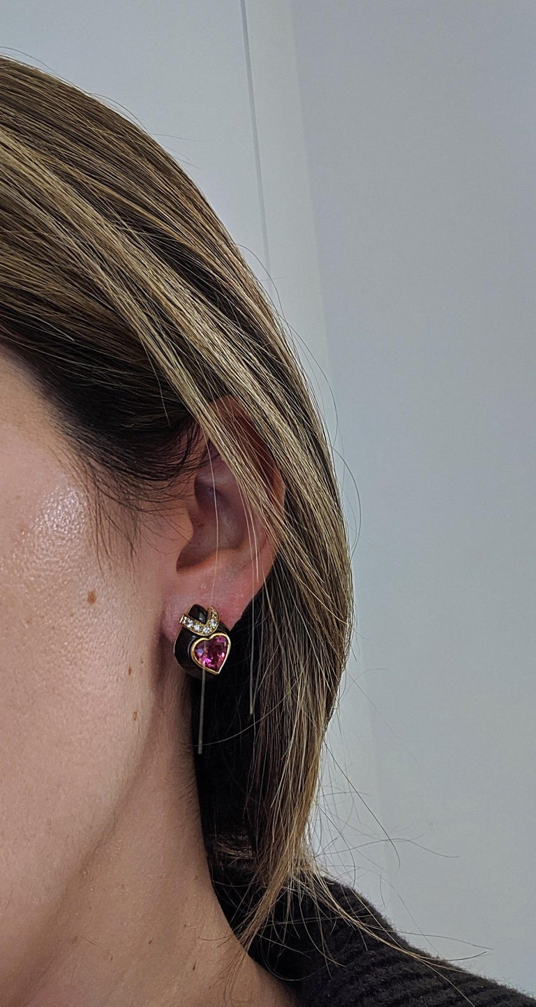 David Morris 18Kt Yellow/Blackened Gold Diamond & Pink Tourmaline Heart Earrings For Sale 1