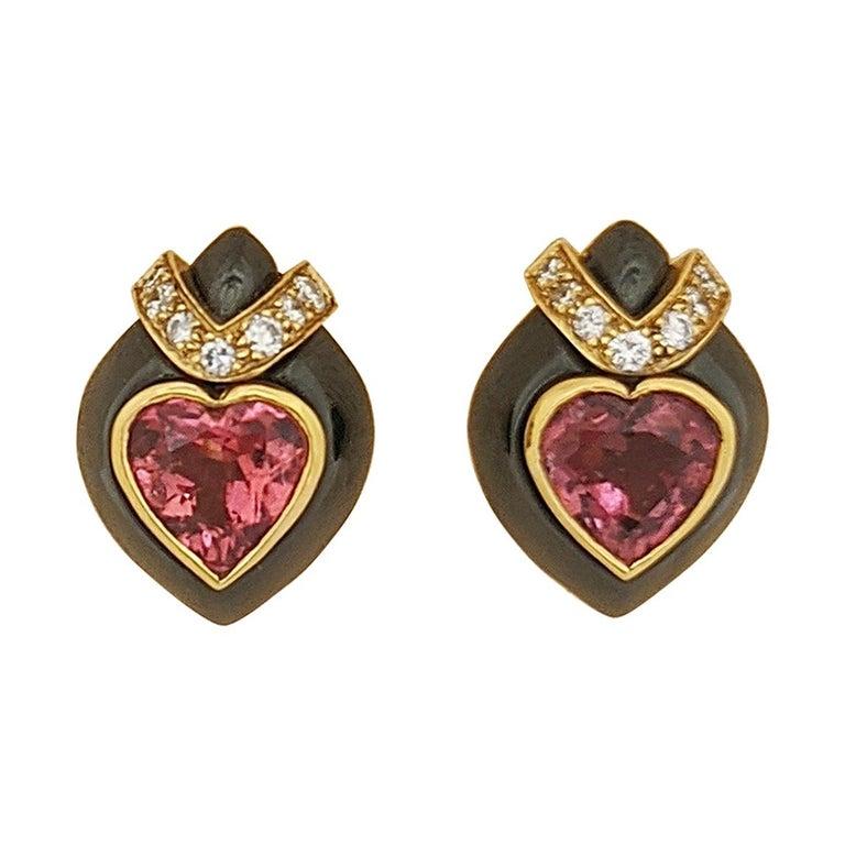 David Morris 18Kt Yellow/Blackened Gold Diamond & Pink Tourmaline Heart Earrings For Sale