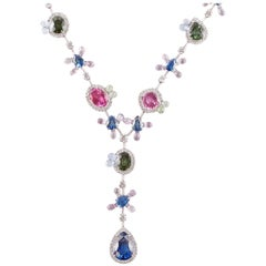 David Morris 95.26 Carat Sapphire 7.01 Carat Diamond Necklace