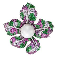 David Morris Multicolour Sapphire, Tsavorite, Diamond & Pearl Flower Brooch