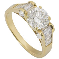 David Morris Round Brilliant Cut Diamond Ring 1.40 Carat H/VS1 GIA Certified
