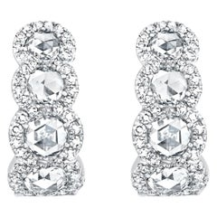 David Morris White Gold Rose Cut Diamond Earrings, 4.50 Carat