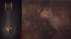 Plum Bob #2 (a multi color lithograph showing brass plum bob and night sky)