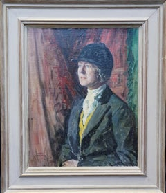 Hunting Lady - British thirties art female portrait oil painting horse riding