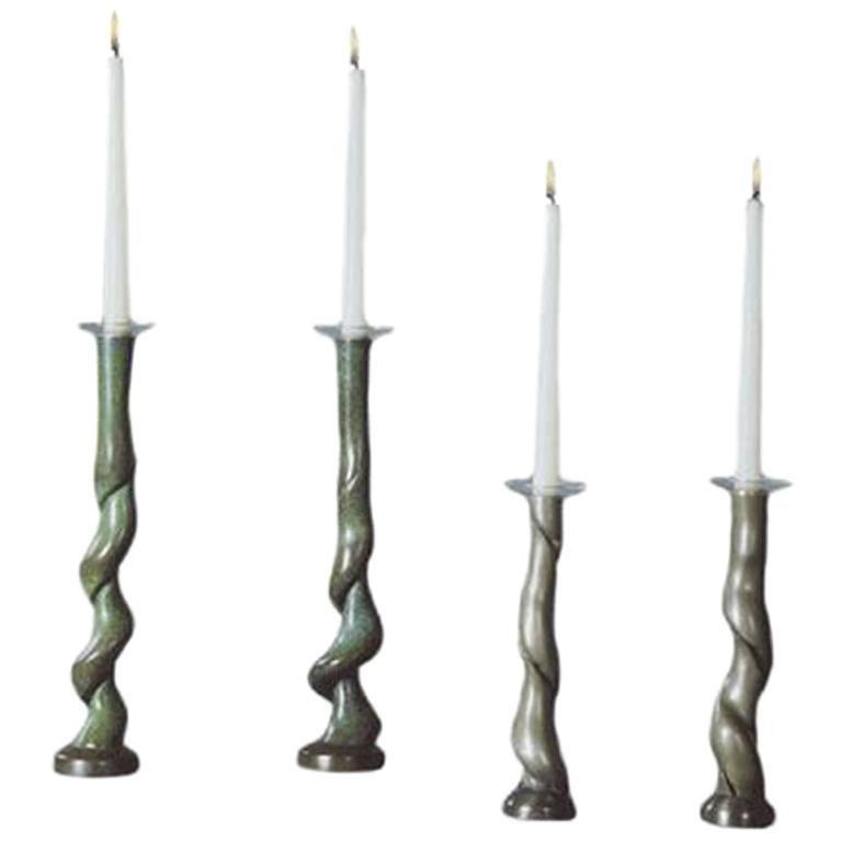David N. Ebner Four Cast Bronze Candleholders For Sale