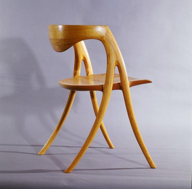 American Craftsman David N. Ebner, Twisted Stick Ladder Back Chair For Sale