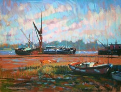 Barges at Pin Mill original Contemporary landscape painting
