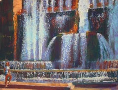 Fountains at Tivoli  original Contemporary City landscape painting
