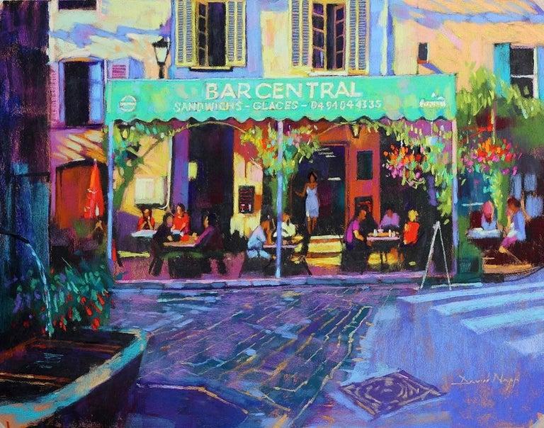 David Napp Abstract Painting - La Serveuse au Bar Central  original City landscape Contemporary painting