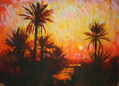 Moroccan Sunset original Contemporary landscape painting