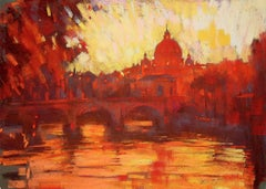 Sunset on the Tiber Rome Italy original city landscape painting
