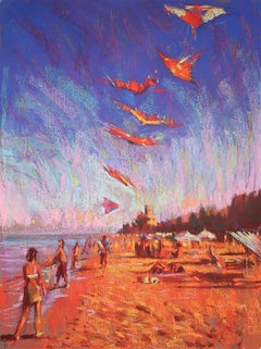 The Kite Seller Pinetto Italy original city landscape painting