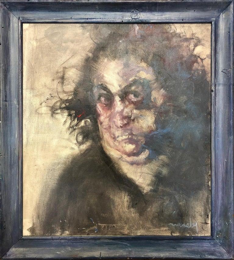 "David Naseby (Born 1937)  ""The Mechanic""  A Portrait of Paul Taffa - Painting by David Naseby"
