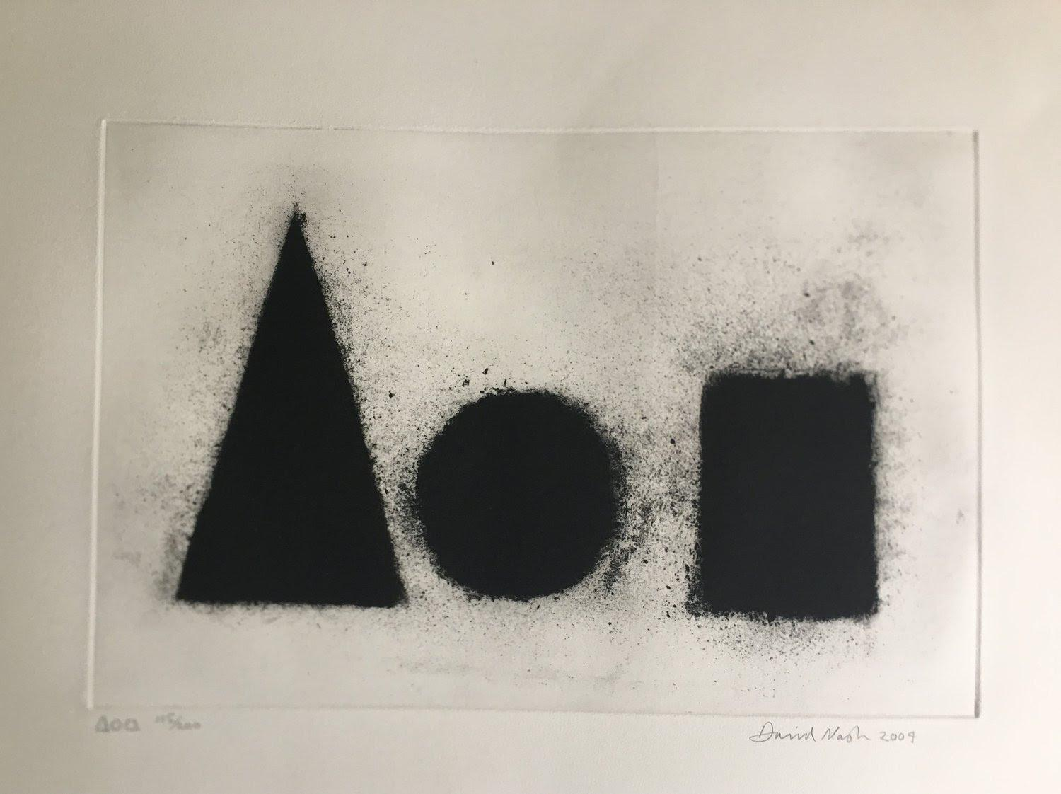 """David Nash """"Pyramid, Sphere, Cube"""" Signed Limited Edition Etching"""