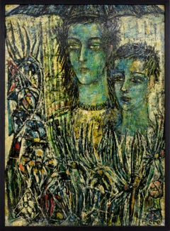 David Olere, Under The Umbrella, Oil on panel