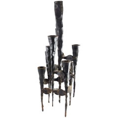 David Palombo Brutalist Iron Menorah