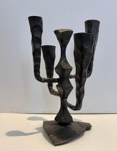 Hand Forged Brutalist Iron Sculpture Israeli Candelabra David Palombo Judaica