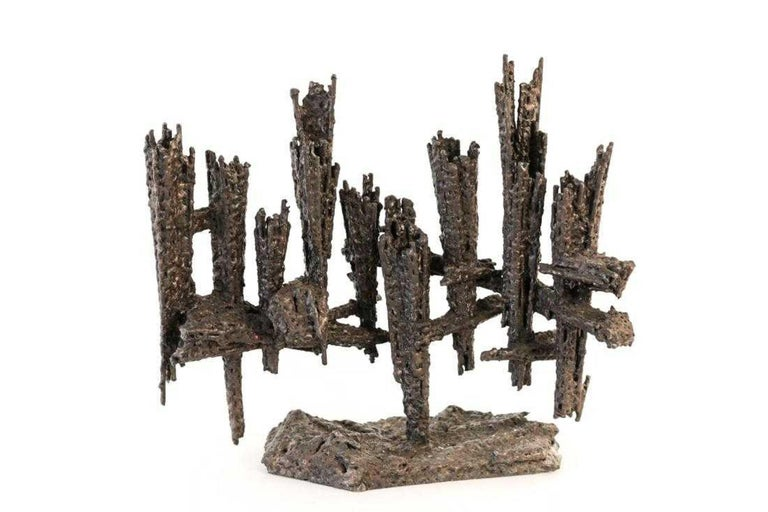 Large Modernist Hand Forged Iron Menorah Sculpture Knesset Israeli David Palombo - Black Abstract Sculpture by David Palombo