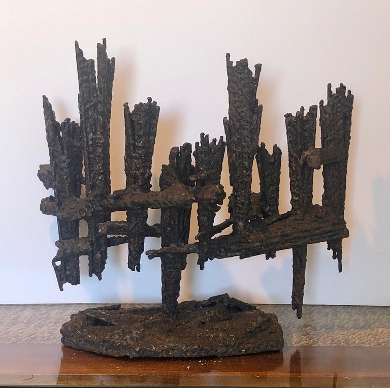 Large Modernist Hand Forged Iron Menorah Sculpture Knesset Israeli David Palombo For Sale 4