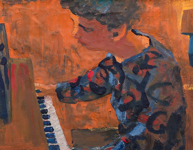Woman at Piano - Post-War Painting by David Park
