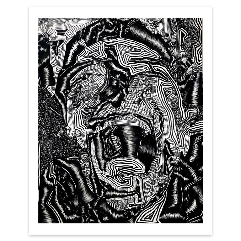 David Paul Kay Figurative Print - Geometric Abstraction, portrait, limited edition series- 'Scream'