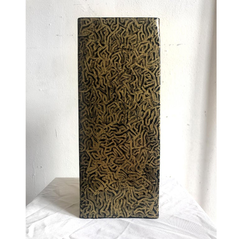 Geometric Abstraction, ceramic tower sculpture- 'Tower of Gold' - Sculpture by David Paul Kay