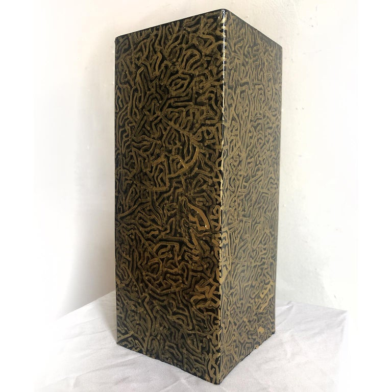David Paul Kay Abstract Sculpture - Geometric Abstraction, ceramic tower sculpture- 'Tower of Gold'