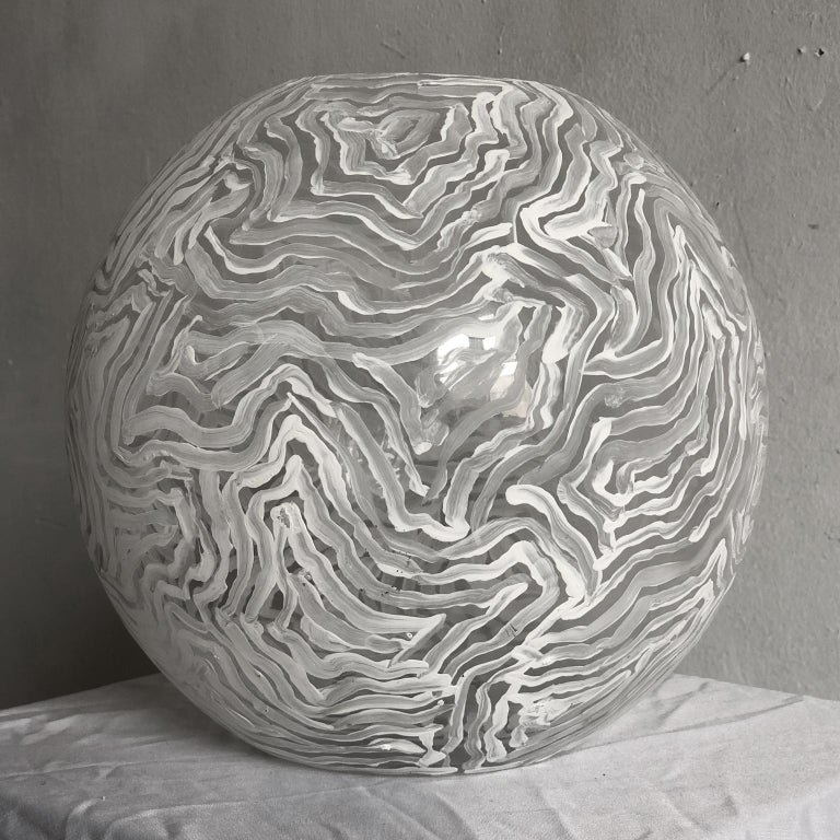 David Paul Kay Abstract Sculpture - Geometric Abstraction, glass ball sculpture- 'White Ball of Fire'