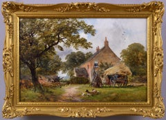 19th Century landscape oil painting of a farm with figures, sheep & hay cart