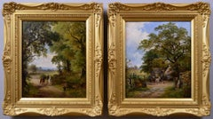 19th Century pair of landscape oil paintings of a country lane and an inn