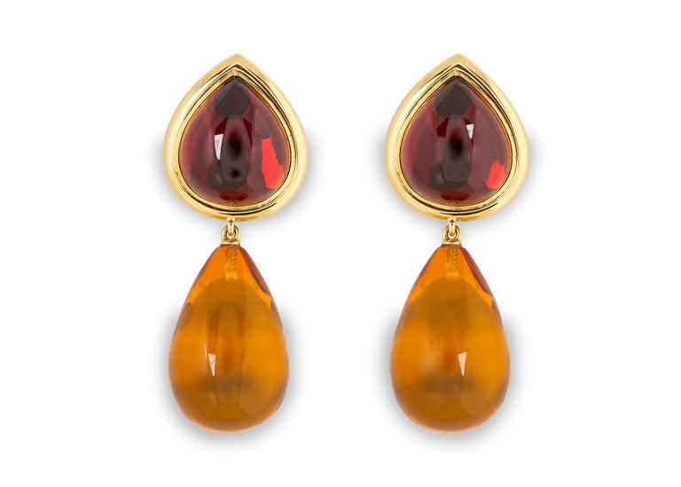 Contemporary David Precious Gems Garnet and Amber Earrings For Sale