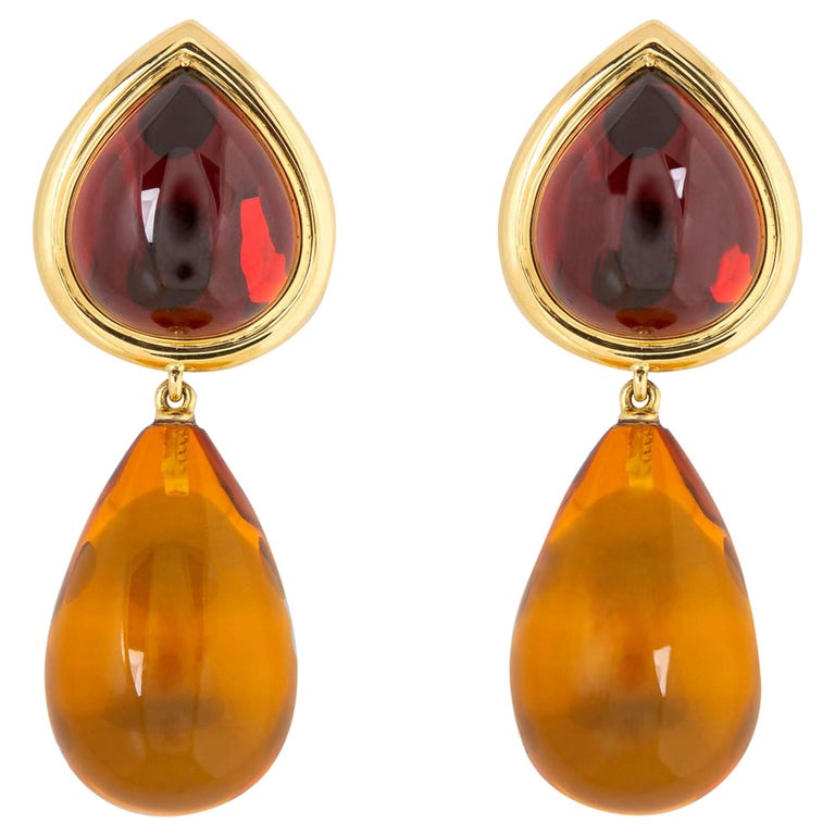 David Precious Gems Garnet and Amber Earrings For Sale