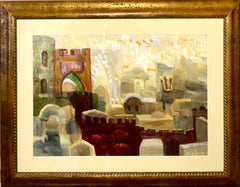 Jewish Mystical Kabbalah Oil Painting Jerusalem Cityscape Hebrew Letters Judaica
