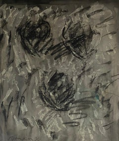 Australian Abstract Expressionist Gouache Painting Charcoal on Shaped Paper