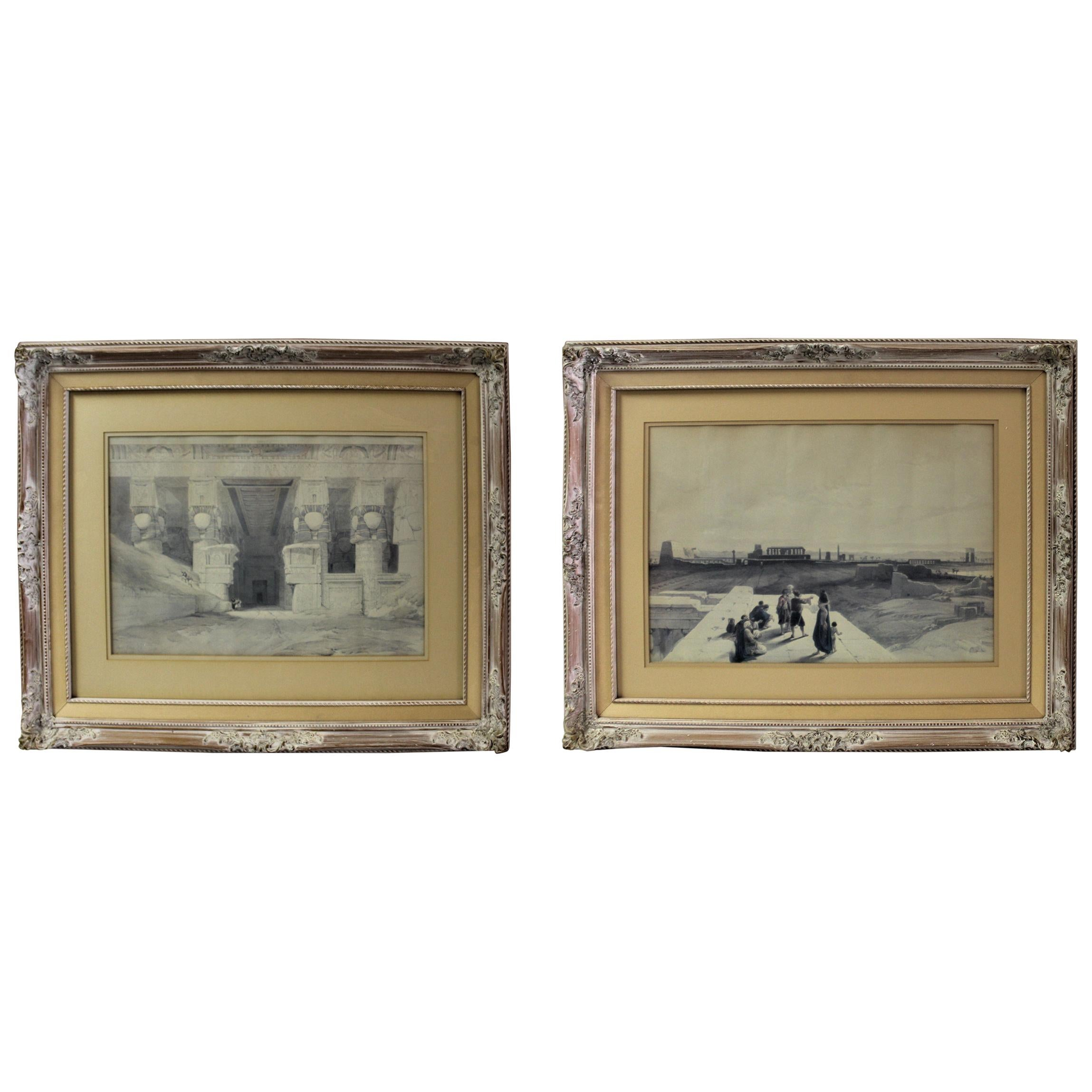 David Roberts of the RA in England, Egypt Lithographs Mounted, Pair