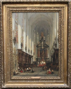 Interior of St Paul's Antwerp - Scottish Old Master Victorian art oil painting