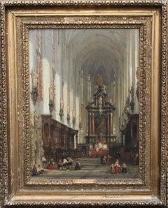 Interior of St Paul's Antwerp - Scottish Old Master Victorian art oil painting