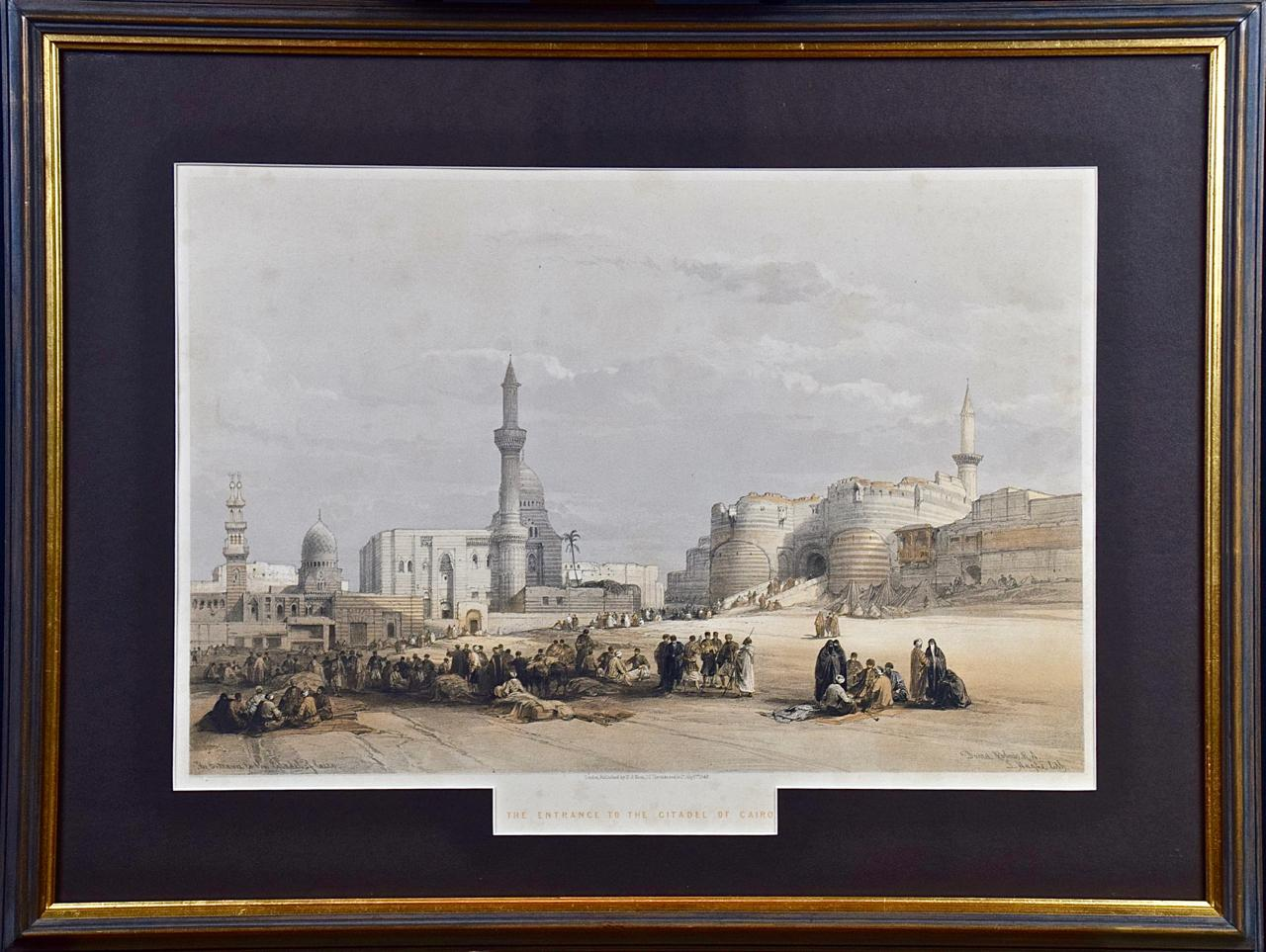 """David Roberts' 19th C. Hand Colored Lithograph, """"Entrance to the Citadel Cairo"""""""