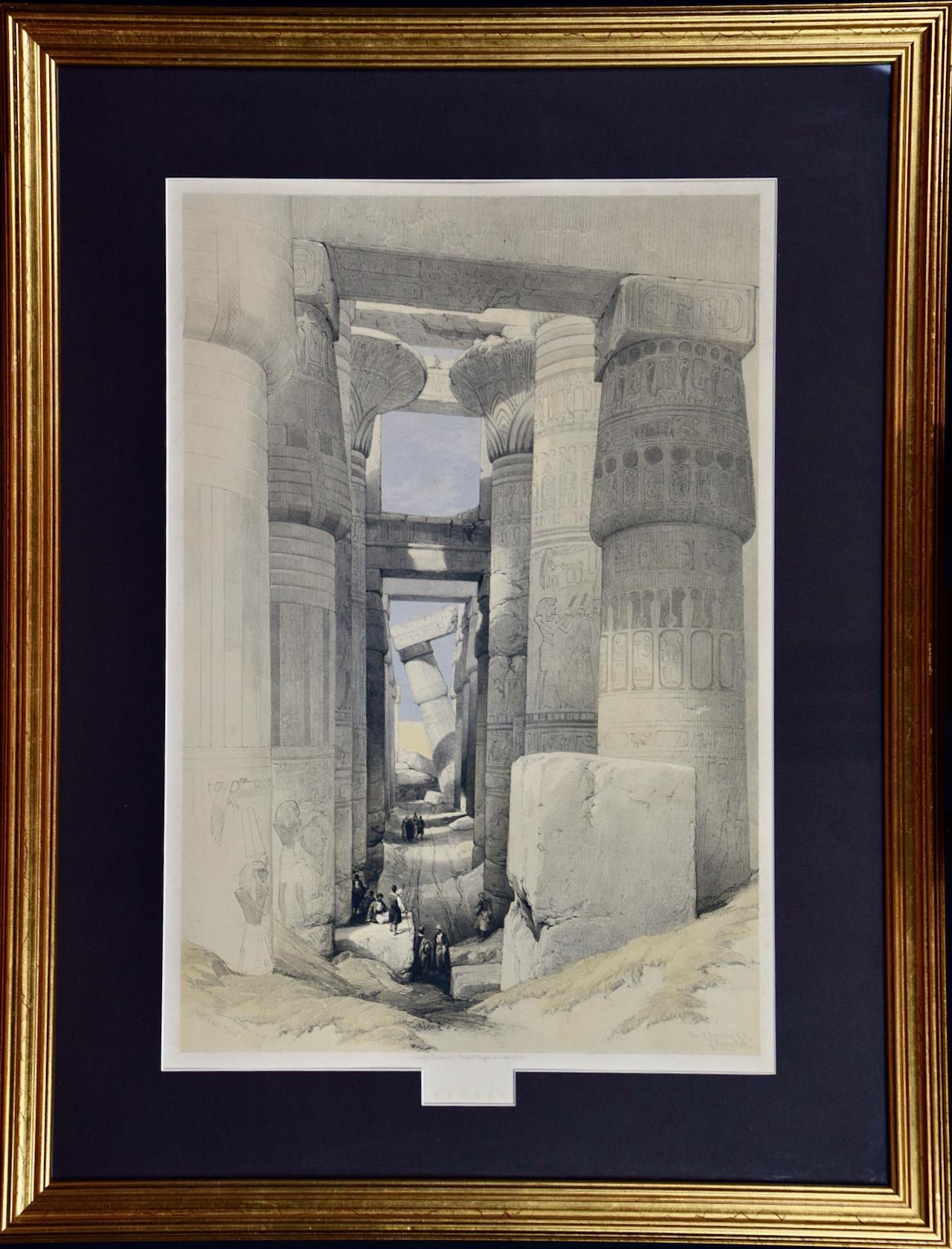 "David Roberts' 19th C. Hand Colored Lithograph, ""Karnac"", The Hall of Columns"
