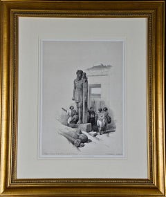 David Roberts' 19th Century Duo-tone Lithograph: Colossus of the Temple of Wady
