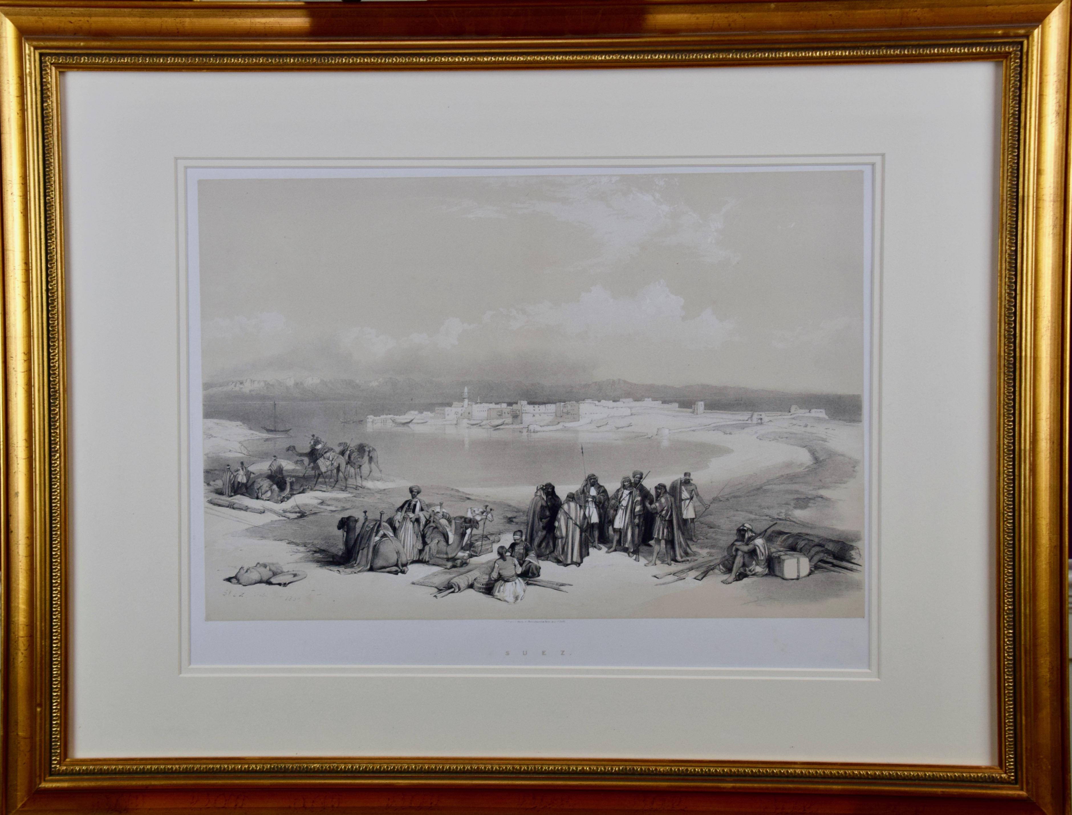"David Roberts' 19th Century Duo-tone Lithograph, ""Suez, General View"""