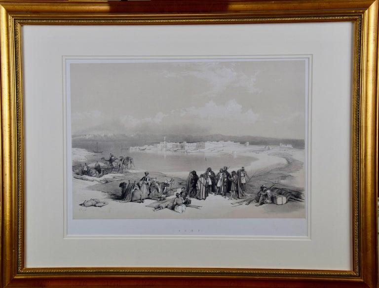 "David Roberts' 19th Century Duo-tone Lithograph, ""Suez, General View"" - Print by David Roberts"
