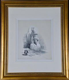 David Roberts' 19th Century Hand Colored Lithograph: Colossal Statues of Ramses