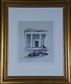 David Roberts' 19th Century Hand Colored Lithograph, Entrance to the Caves