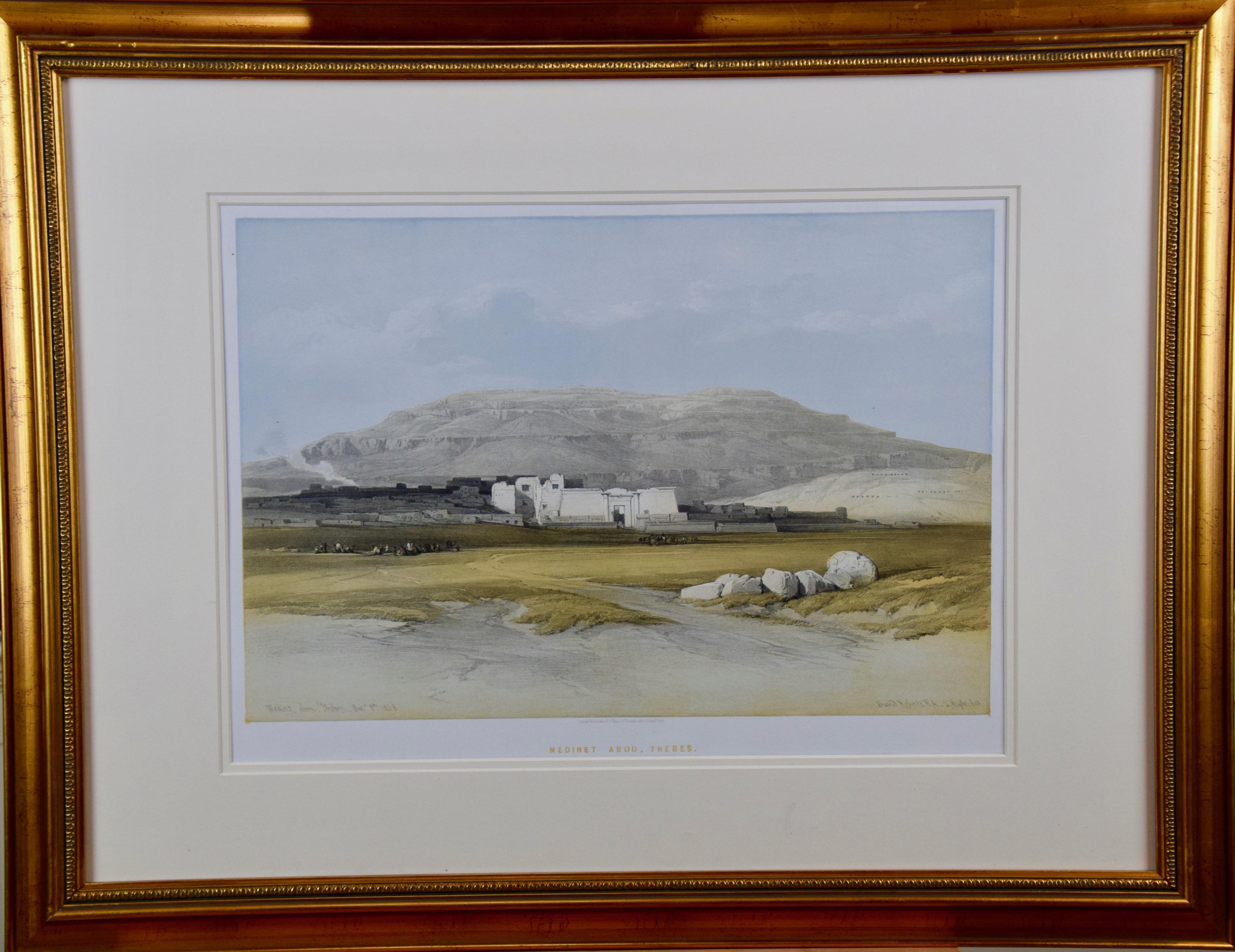 """David Roberts' 19th Century Hand Colored Lithograph, """"Medinet Abou, Thebes"""""""