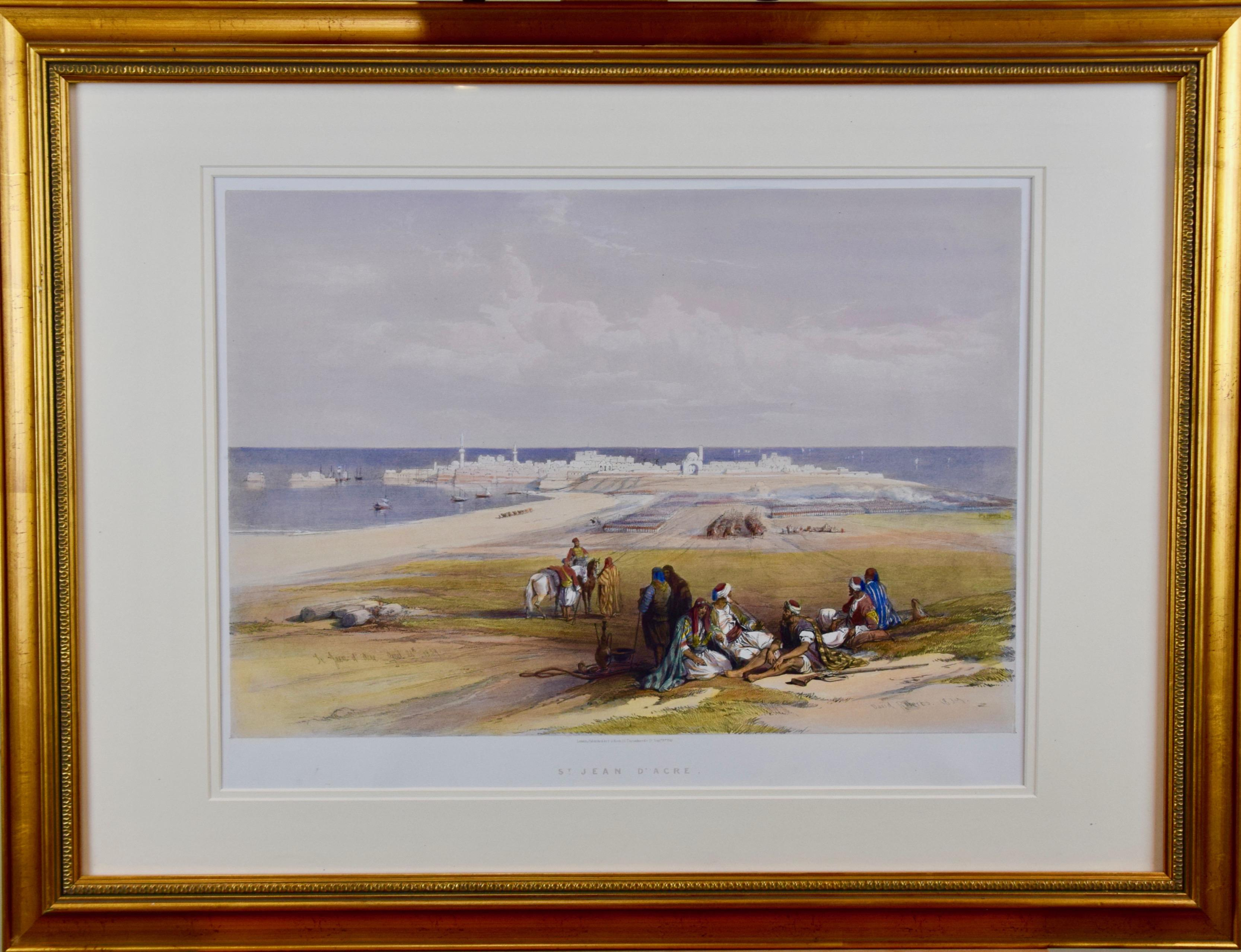 David Roberts' 19th Century Hand Colored Lithograph, St. Jean D'Acre