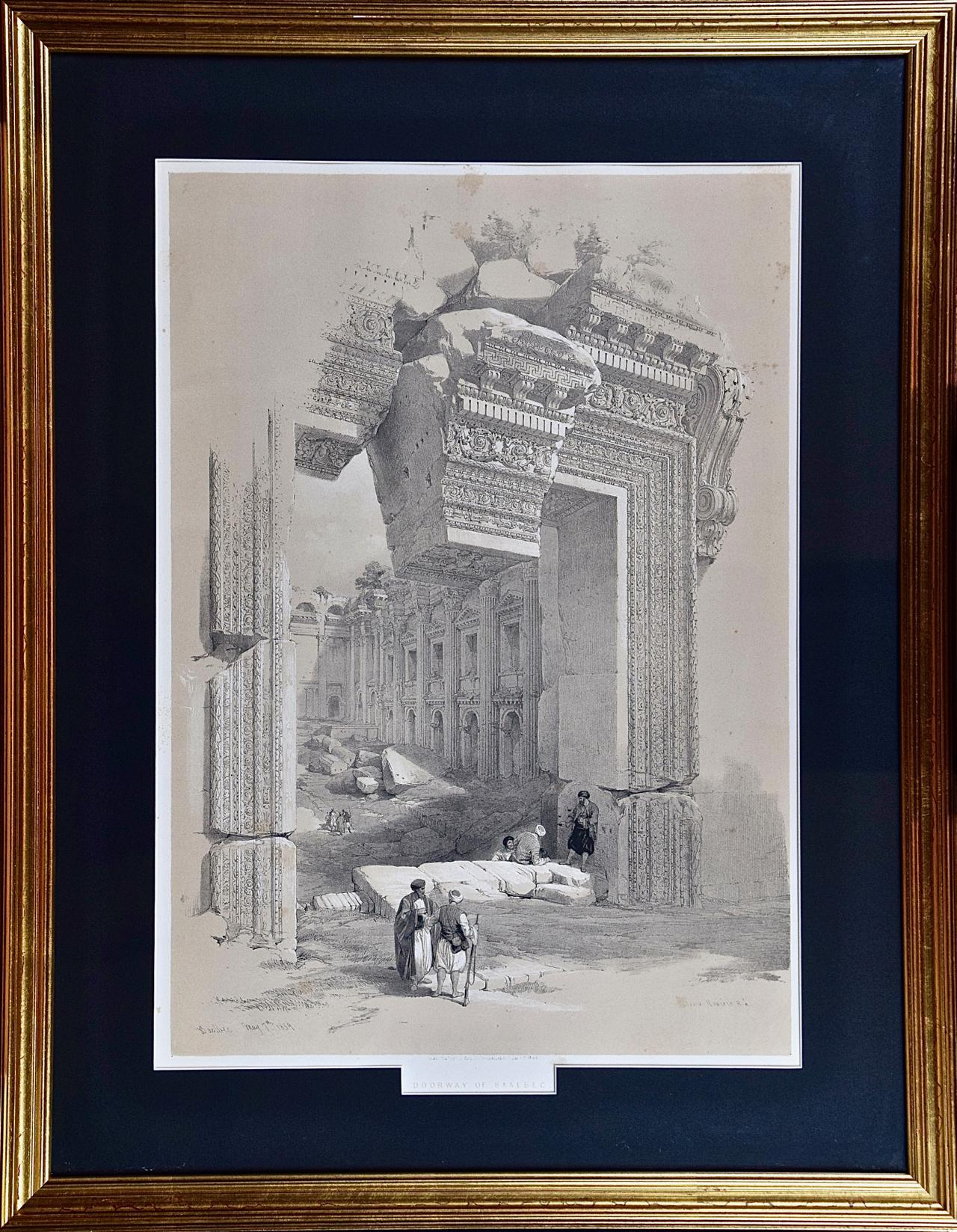 """David Roberts' 19th Century Hand Colored Lithograph, """"The Doorway of Baalbec"""""""