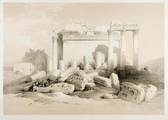 Eastern Portico, Baalbec, Lebanon. David Robert's Oriental lithograph, 1843.